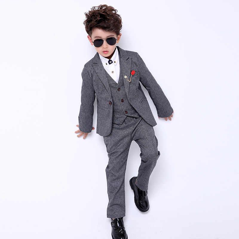 Новинка 2019 года, костюмы для мальчиков облегающий Костюм Джентльмена для мальчиков, деловой классический костюм для свадьбы, 3 предмета, пальто, жилет, брюки, костюмы