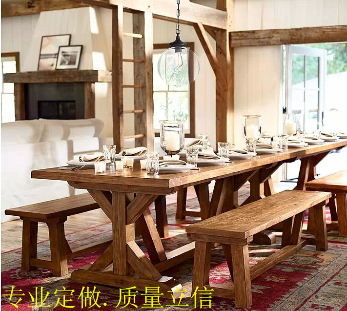 LOFT old Nordic custom made pine dinette combination of solid wood dining  table rectangular table French