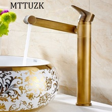 MTTUZK antique Solid Brass Deck Mounted Kitchen Faucet hot&cold Mixer Tap 360Rotated basin Faucet Lucky Cat Faucet free shipping(China)