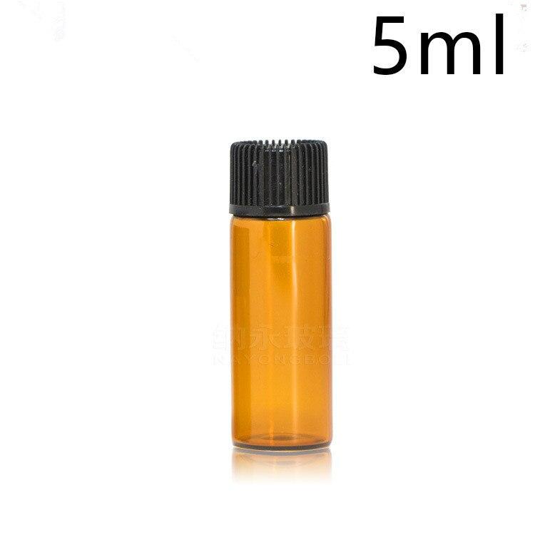 1ml 2ml 3ml 5ml Mini Amber Glass Essential Oil Bottle With Black Cap Brown Glass Bottle Sample Test Refillable Bottles 100pcs
