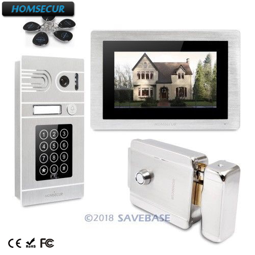 HOMSECUR 7 Wired Video Door Entry Phone Call System Intercome Electric Lock+Keys Included+Touch Screen Monitor+Recording