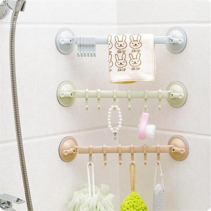 1pc Plastic Suction Cup Kitchen Hanger Organizer Bath Clothes Towel Bathroom Hook Cooking Tool Flexible Storage Rack Shelf