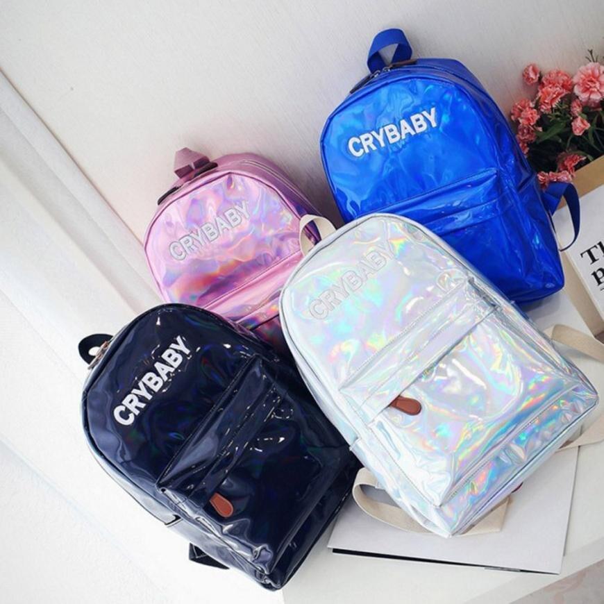 Fashion Women Men Rucksack Holographic Silver Color Shoulder Bookbags School Bags For Teenagers Satchel Travel Backpack Mochilas