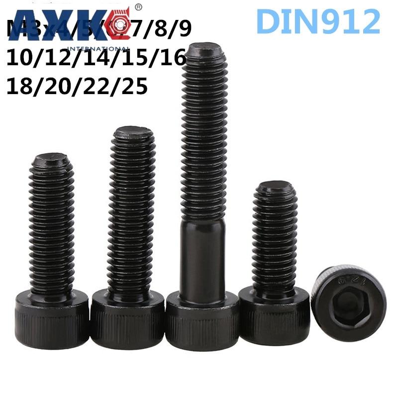 AXK Metric Thread DIN912 M3 Black Grade 12.9 Alloy Steel Hex Socket Head Cap Screw Bolts M3*(3/4/5/6/7/8/9/10/12/14/15~50) mm metric thread din912 m3 black grade 12 9 alloy steel hex socket head cap screw bolts m3 3 4 5 6 7 8 9 10 12 14 15 50 mm