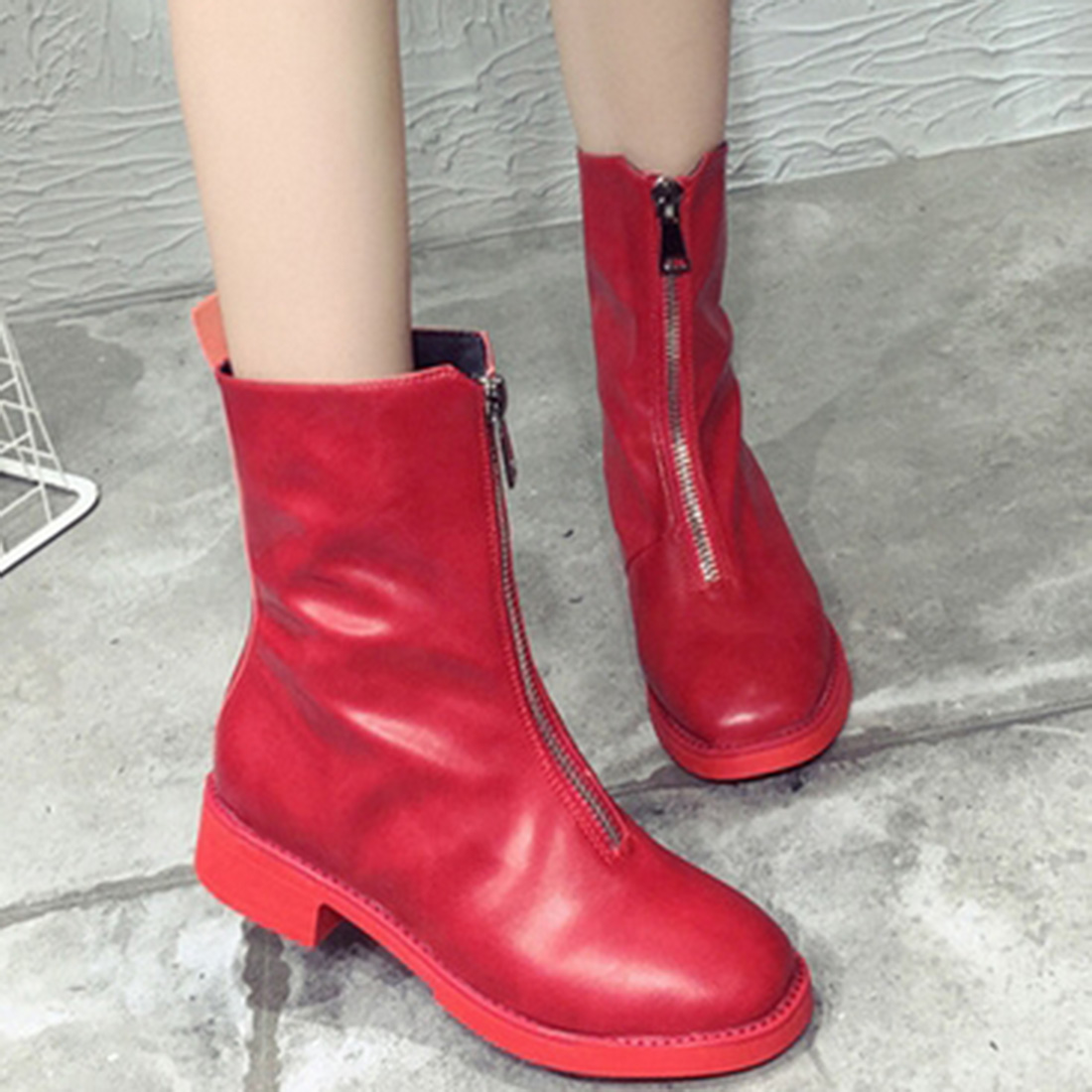 ФОТО 5 colors Fashion Girls Martin Boots Ladies Mid Heels Boots PU Leather Booties Draped Front Zipper Women Stars Show Popular Shoes