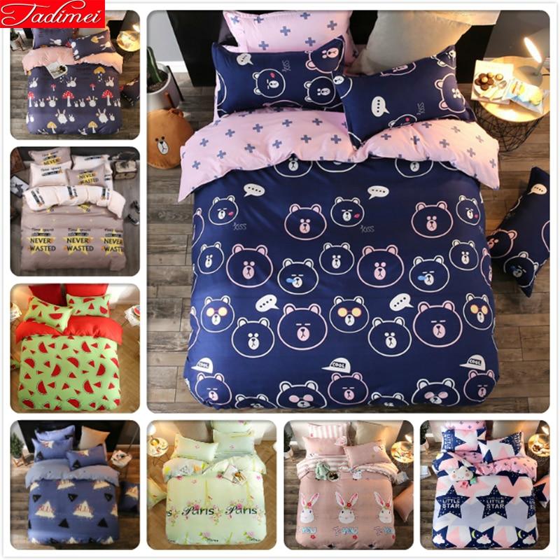 3/4 Pcs Bedding Set 4/5/6 Feet Bed Linen 1.5m 1.8m 2m 2.2m Bedsheet King Queen Twin Double Single Size Duvet Cover Kids Bedlinen Solar
