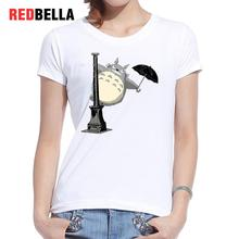 REDBELLA 2017 Femme T-shirt Anime Miyazaki Ghibli Rain Happy Totoro Printing T Shirt Women Casual Cotton White Tops Clothing Hot