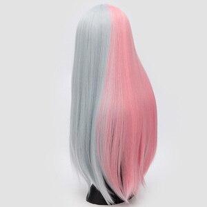 Image 2 - Yiyaobess 28 pollici della Parte Centrale Lungo Rettilineo Cosplay Parrucca Sintetica Dei Capelli di Colore Rosa Grigio Nero Bianco Rosso Ombre Donna Parrucche Per halloween