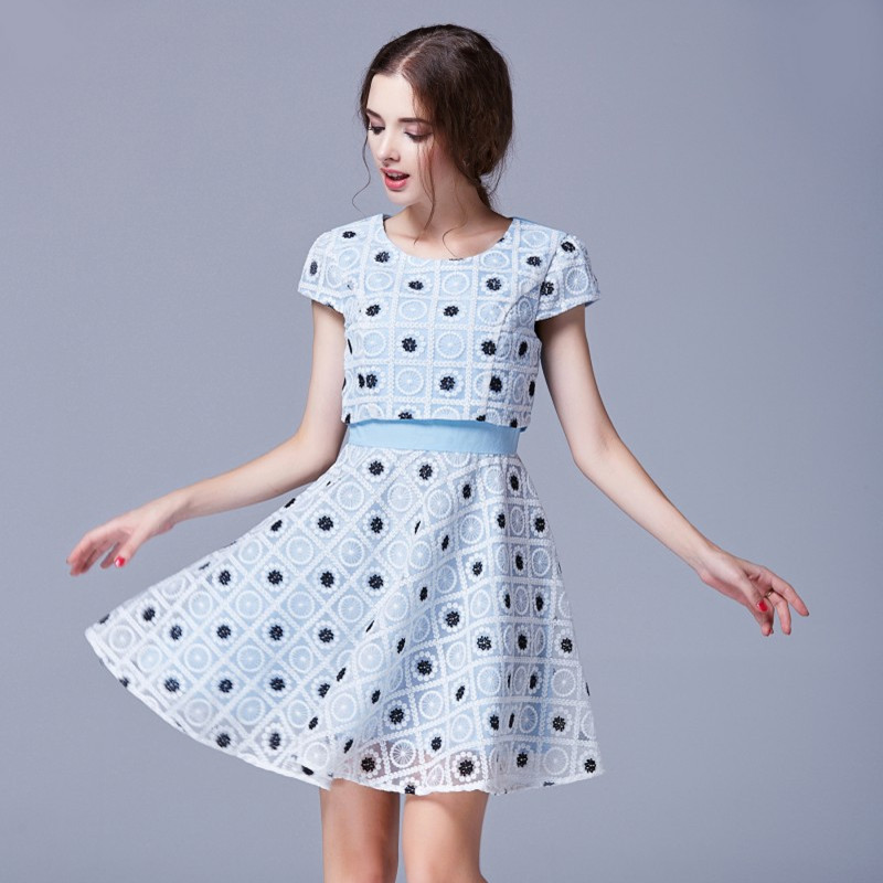 Online Shop Ladies Summer Dress Light Blue Dresses O Neck Short ...