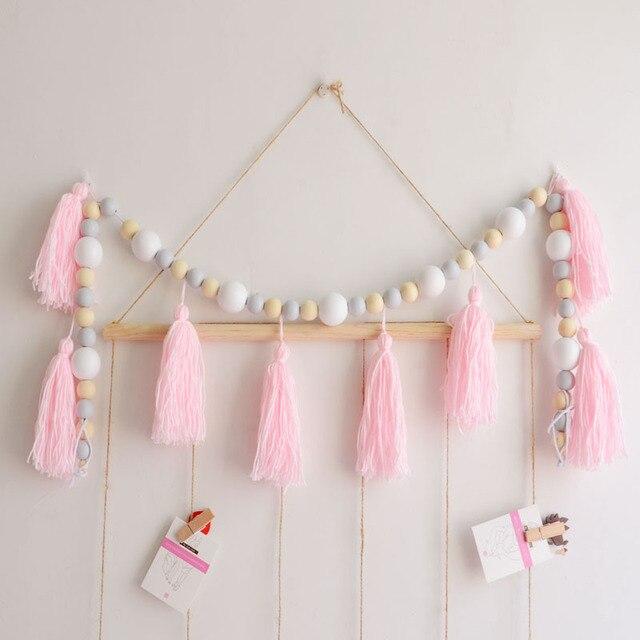 Houten Kraal Hanger Prinses Roze Hout Kwastje Kralen Accessoires Baby Fotografie Props Kamer Decoraties Muren