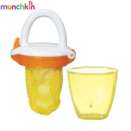 Munchkin Baby Bite Bag Yellow Allows Biting Food Enjoying Fresh Fruits Safely Smart Alternative To Molar Toys Simple Easy Use