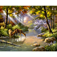 1Set Forest Deer Nature DIY Painting By Numbers Acrylic Paint By Numbers Unique Gift Canvas Painting