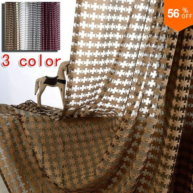 Free shipping wholesale 3 colors pattern embroidery finished tulle sheet modern curtains on hook cortina