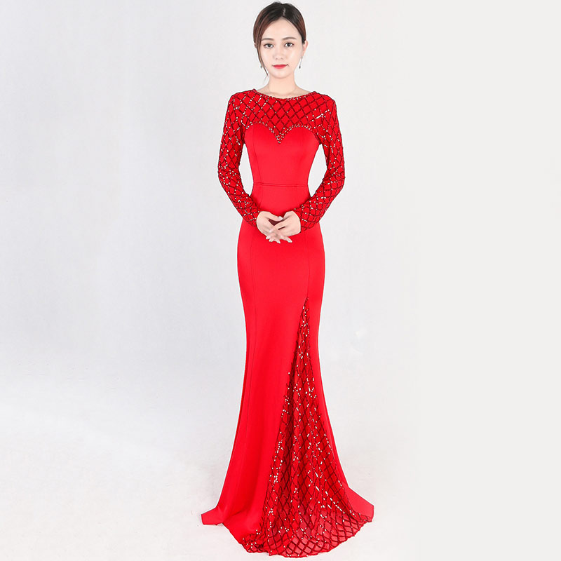 Élégant luxe vin rouge O cou à manches longues Plaid motif Sequin parti Club robe Sexy longue sirène robe dames robes formelles