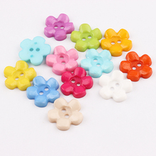100pcs Mixed Color Flower Plastic Button Baby Sewing Button Decoration / Sewing / Craft / Scrapbook Accessories 15mm