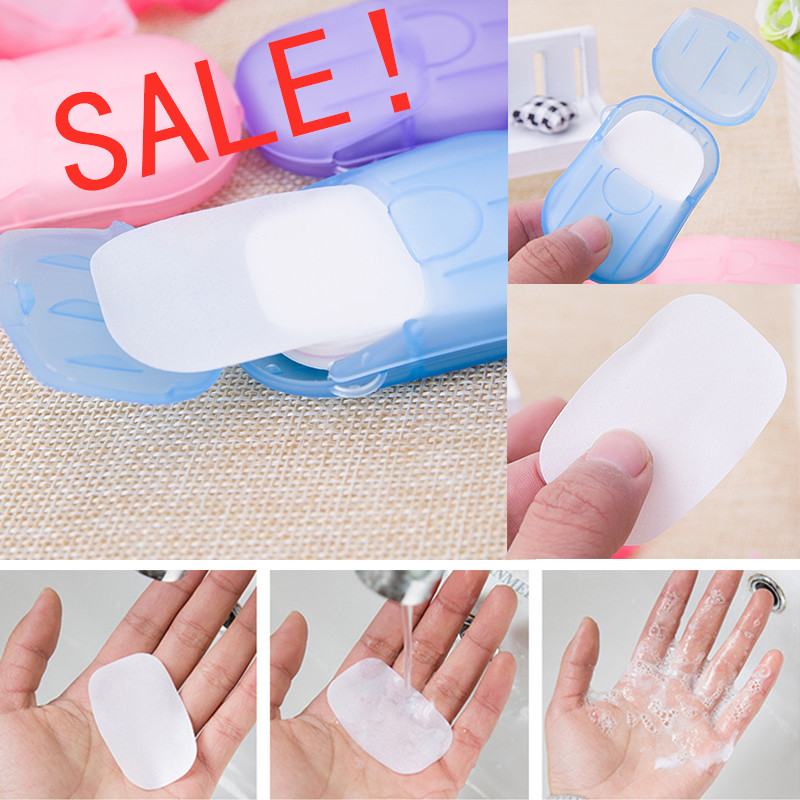 HOT Disposable Washing Hand Supplies Bath Travel Foaming Box Mini Paper Portable 20pcs/sets Scented Foaming Small Soap Box Paper