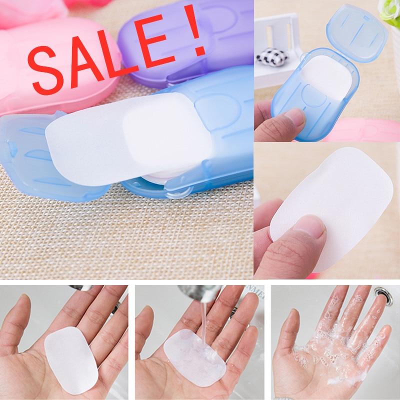 HOT Disposable Washing Hand Supplies Bath Travel Foaming Box Mini Paper Portable 20pcs/sets Scented Foaming Small Soap Box Paper