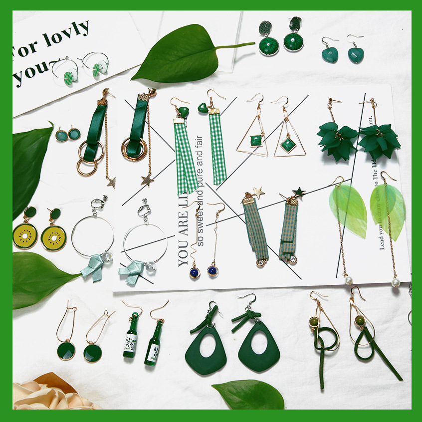 YOBEST Green flannel Drop Earrings Set For Women Girl Brincos Circle Star Fluffy Fur Ball Bowknot Earrings party Gift jewelry