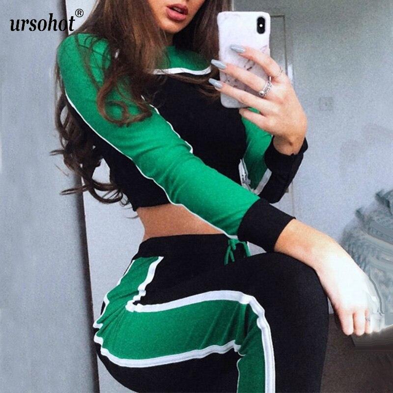 Ursohot Colors Patchwork Two Piece Women Sets Tracksuit 2018 Autumn Winter Striped Sweatshirts Crop Tops Legging Suits Sporty