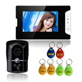 "Electric Lock 7 ""color LCD Display Video Door Phone  Intercom Doorbell  ID Unlocking Four Wire"