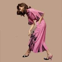 Высокое качество, новинка, дизайнерское модное платье для подиума, женское платье принцессы с расклешенными рукавами в черный горошек с цветочным принтом, розовое длинное платье