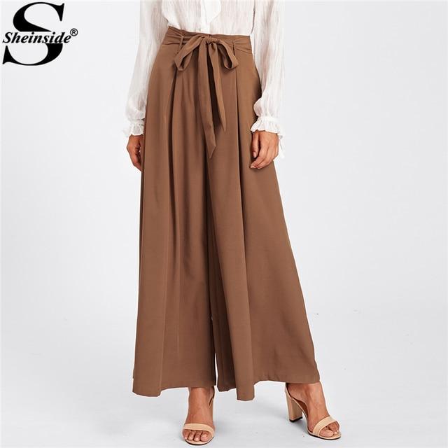 Sheinside 2018 свободные Широкие брюки элегантные Кофе середины талии завязывается поясом юбка с бантом Palazzo Брюки для девочек Для женщин длинными Мотобрюки