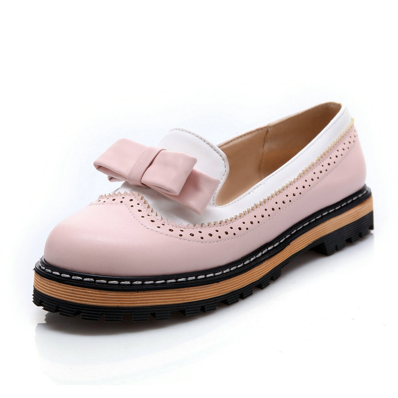 Size 34-43 New Spring Autumn Ladies Shoes Slip On Round Toe Flat Heel PU leather Bow Tie Cut Outs Women Shoes Colour Pink стоимость