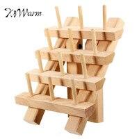 KiWarm Durable Useful 12 Spool Premium Wood Sewing Thread Rack Stand Organizer Craft Embroidery Storage Holder