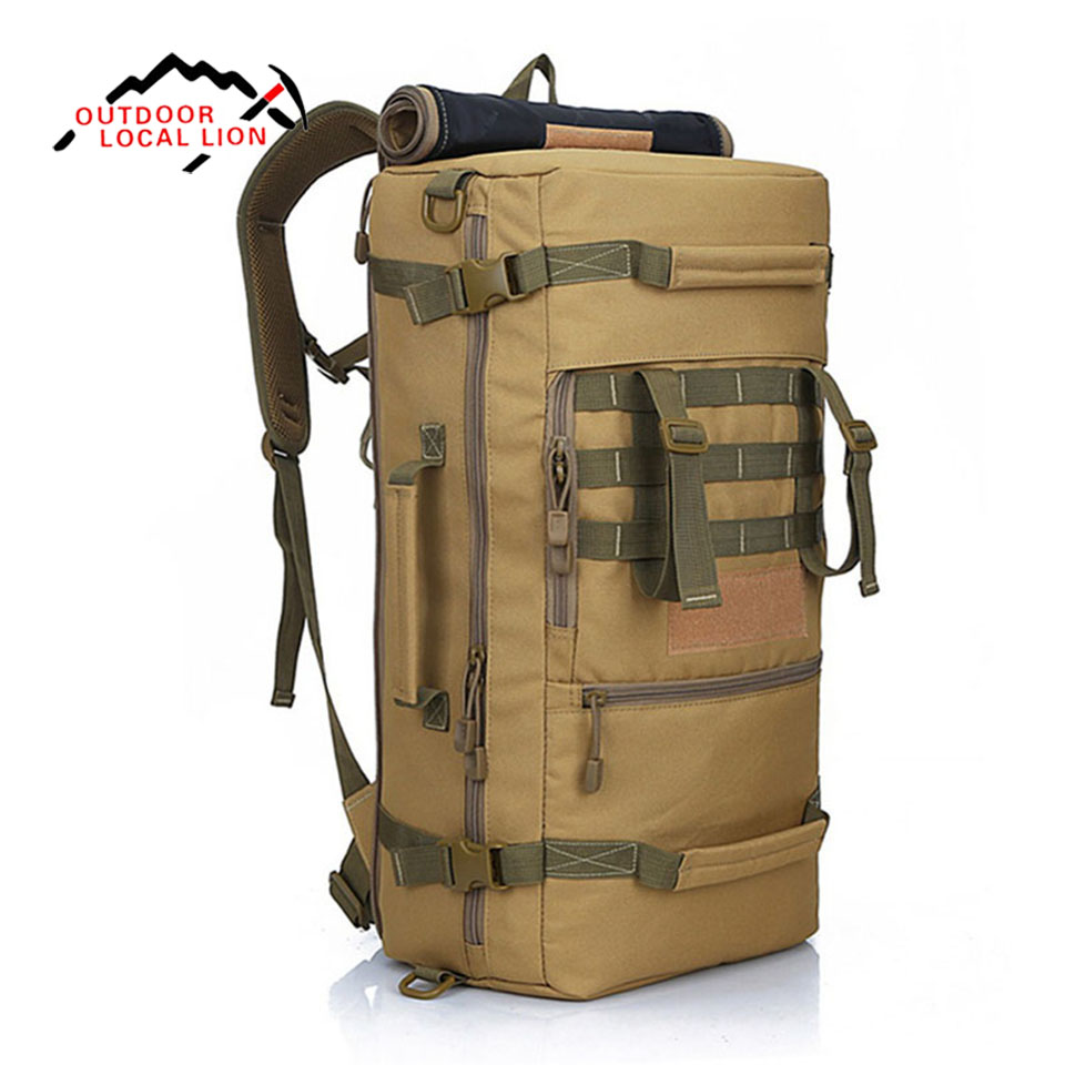 LOCAL LION 50L Capacity Men Travel Bag Outdoor Mountaineering Backpack Hiking Camping Shoulder Bags Military Tactical Backpack 60l outdoor military tactical backpack large capacity camping bags mountaineering bag men s hiking rucksack travel backpack