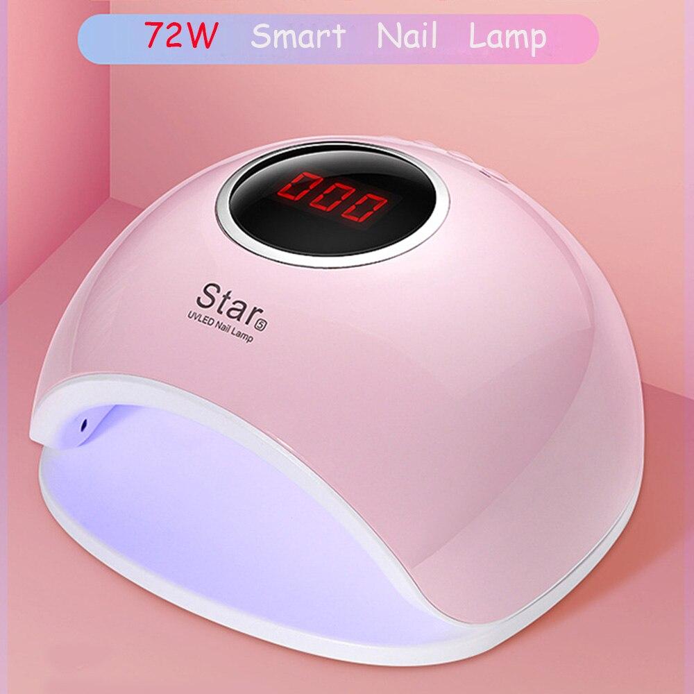 72 W Dual UV lámpara LED de uñas secador esmalte de Gel de uñas para luz de curado con s inferior 30 s/60 s temporizador LCD lámpara de exhibición para uñas secador de uñas