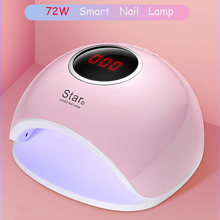 72W Dual UV LED Nail Lamp Nail Dryer For Gel Polish Curing Light with Bottom 30s/60s Timer LCD Display Lamp For Nails Nail Dryer(China)