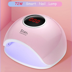 72W Dual UV LED Nail Lamp Nail Dryer For Gel Polish Curing Light with Bottom 30s/60s Timer LCD Display Lamp For Nails Nail Dryer