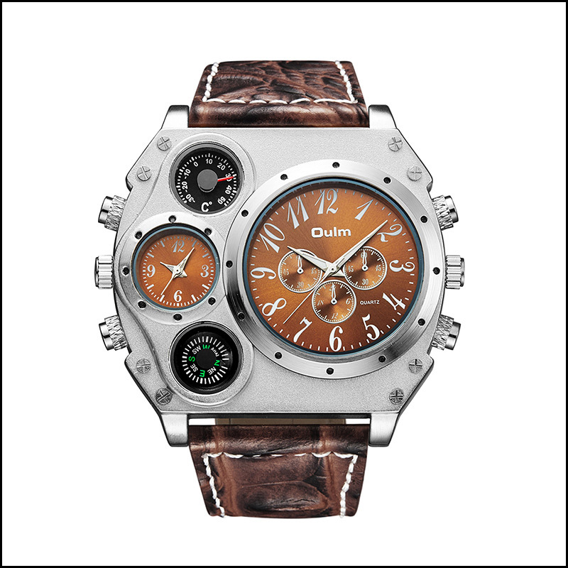 Luxury Large Dial Multi-Time Zone Men's Watch Two Watches When Walking Fashion Casual Watch