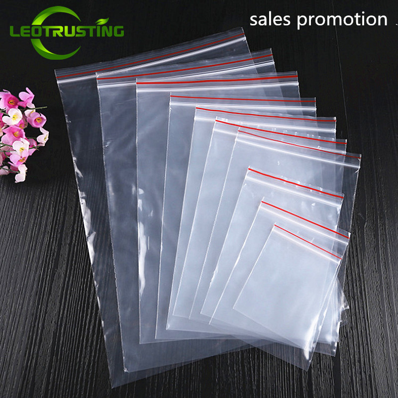 Leotrusting 0.05mm 100pcs/pack PE Jewelry Ziplock Reclosable Plastic Poly Clear Bags Clear Food Gift Storage Bags Kitchen Pouch