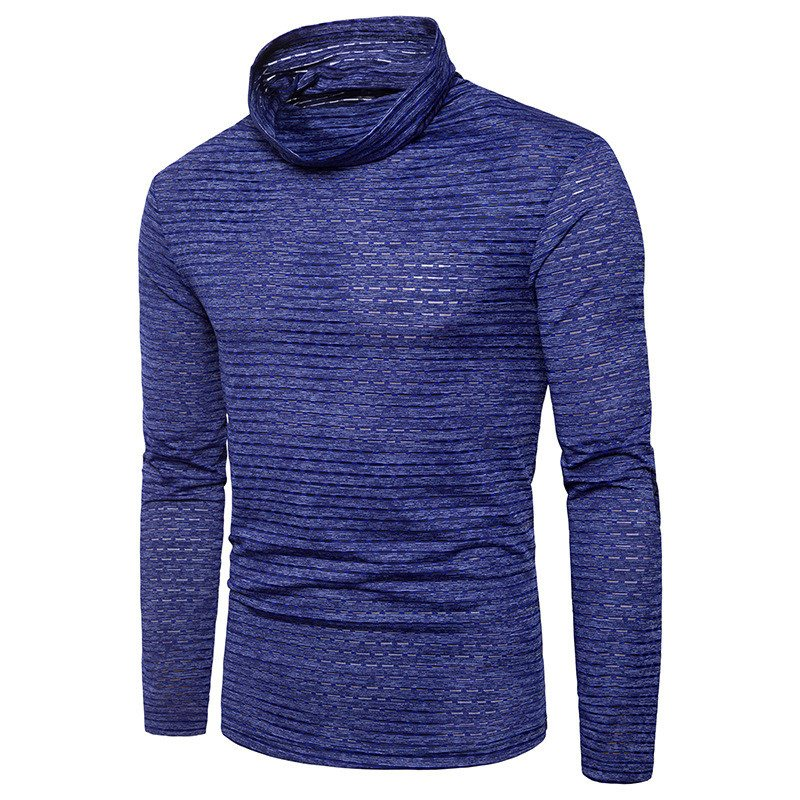 Autumn Fashion Men T-shirt Cultivating High-necked Sweater Long Sleeve Hedging Solid Color T Shirt African-style Chief Design