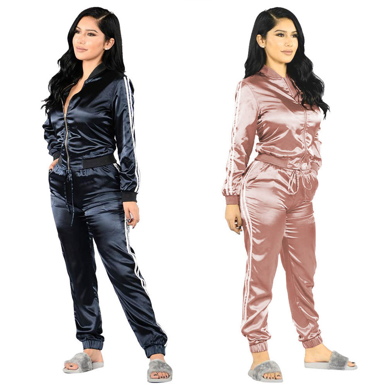 Fashion Zipper Suit Set 2019 Women Tracksuit Two-piece Sport Style Outfit Jogging Sweatshirt Fitness Lounge Sportwear