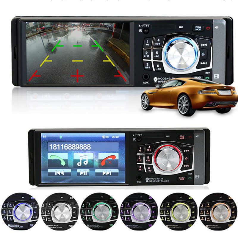 4012B 4.1 inch 1 Din Car Radio Auto Audio Stereo FM Bluetooth 2.0 Support Rear View Camera USB Steering Wheel Remote Control