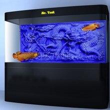 Skräddarsy Aquarium Bakgrundsaffisch med självhäftande Blå Relief Dragon Dubbelsidig PVC Ocean Fish Tank Inredning Landskap
