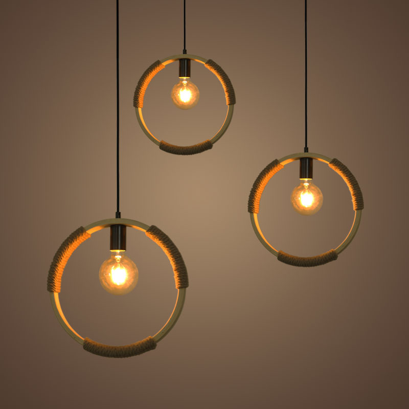 все цены на Retro industry Loft circle hemp rope pendant light dining room kitchen bedroom droplight