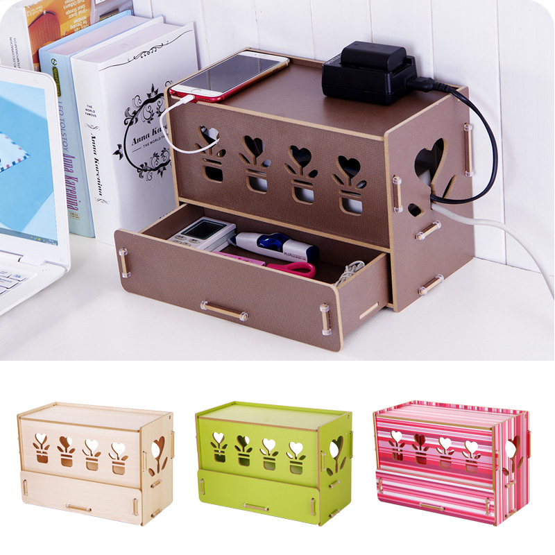 New eco high density wood diy cable storage box socket box Diy cable organizer