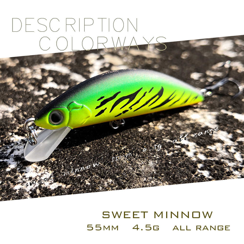 Esca per pesciolini jerkbait piccola di marca ththunder55 55mm/4.5g affondamento mini esca da pesca artificiale per trota pesce persico pesca