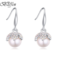 2015 New Summer Style Double Pearl Earrings Long Drop Pendientes Made With Swarovski ELements Bijoux Femme