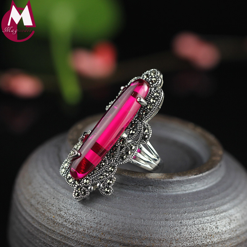 New Arrival Long Natural Red Jade Ring 100 925 Sterling Silver Ring For Women Valentine s
