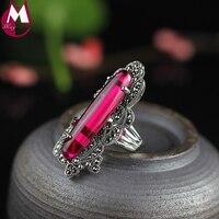 New Arrival Dài Tự Nhiên Nhẫn Ngọc Màu Đỏ 100% 925 Sterling Silver Ring Đối Với Phụ Nữ Valentine Day Trang Sức Luxury Wedding Ring SR50