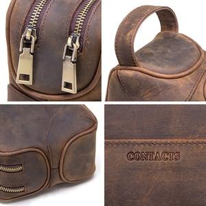Image 5 - CONTACTS neceser de cuero de vaca crazy horse para hombre, bolsa de aseo de viaje de gran capacidad, organizador de bolsas de maquillaje