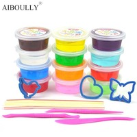 Super Recommended 12 Color Crystal Mud Clay Rubber Clay Color Sand Safe Non Toxic Green Children