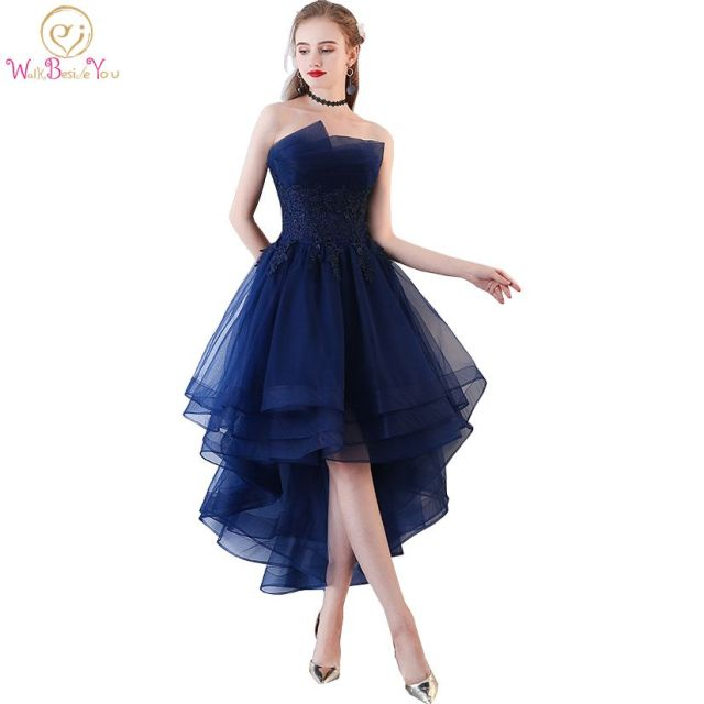 Walk Beside You Navy Blue Evening Dresses Short Front Long Back Party Gowns  Lace Applique Strapless vestidos de festa Formal f271c9e48166