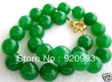 """Libre P & P ******* 10 MM cuentas de JADE verde NATURAL collar de 18 """""""