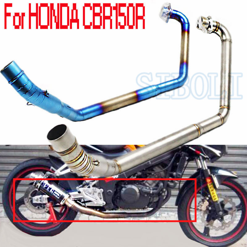 For Honda CBR150R Modified Vent Pipe Stainless Steel Header Tube Link Front Exhaust Pipe System Without Muffler AK213