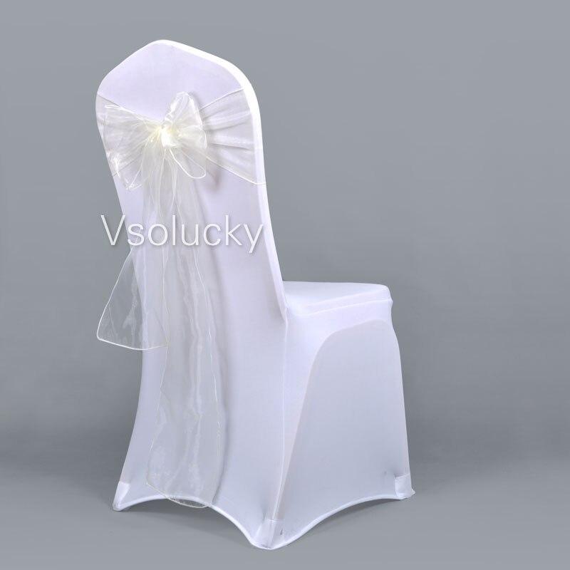25 шт./лот, прозрачный чехол для стула из органзы с поясом и бантом, свадебные, вечерние, рождественские, на день рождения, для душа
